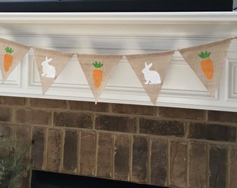 Easter Burlap Banner, Spring, Pennant, Decor - Bunnies and Carrots