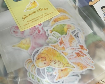 A Pack of 70 pcs 10 Designs Stickers Seal: Cute Little Birds