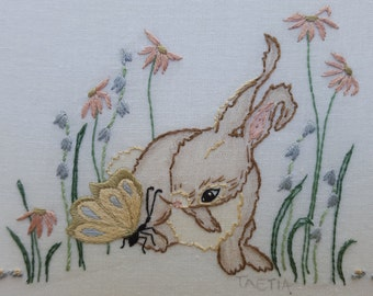 Hand embroidery design. Bunny rabbit. children art. hoop art instructions. hand embroidered. Bunny embroidery pattern.