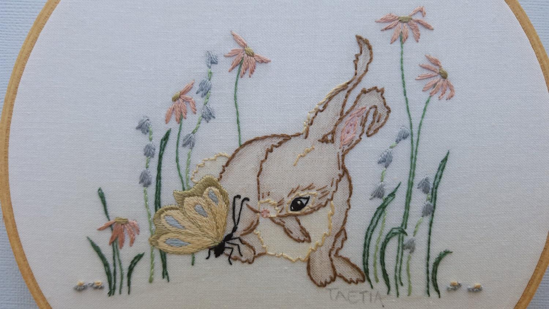 Hand embroidery design bunny rabbit children art hoop