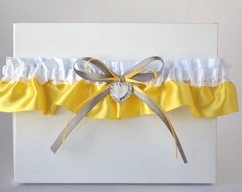 Bridal yellow garter/Wedding yellow Garter/Prom yellow garter/Yellow white & silver garter/Rhinestone heart garter/Toss garter/Single garter