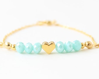 Heart bracelet, gift for her, gold heart, valentine gift, heart jewelry, seafoam crystal, dainty bracelet, best friend gift, mother gift