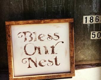 Bless Our Nest, Handmade Wood Sign