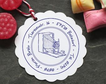 Stamp camera camera nostalgia with address