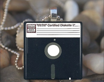 15% OFF AUGUST SALE : Floppy Disk Computer Chip Drive Glass Tile Pendant Necklace Keyring