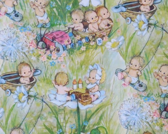 Vintage Hallmark BABY Gift Wrap - Wrapping Paper - WOODLAND BABIES - Lady Bug, Dandelions, Nut Shells - 1960s