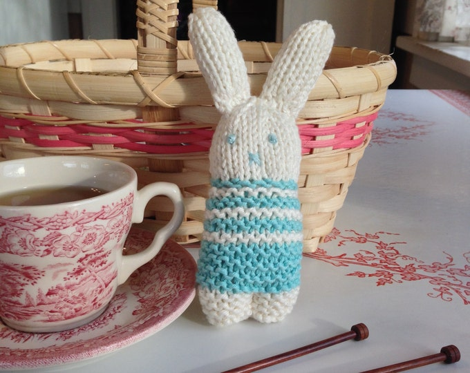 Teacup Bunny, Stocking Stuffer, Turquoise Striped Knitted Bunny
