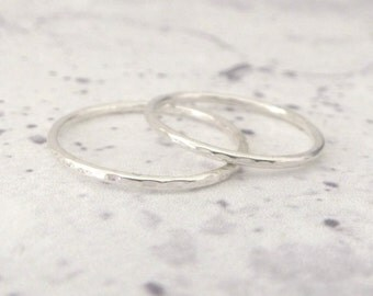 Skinny Silver Band Ring - Hammered