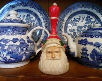 Vintage SANTA CLAUS Dinner Bell * Handpainted Santa Claus Porcelain Christmas Hand Bell * Santa * Father Christmas * Saint Nick