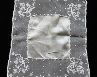 Embroidered Floral Lace and Silk Vintage Wedding Hankie H-220