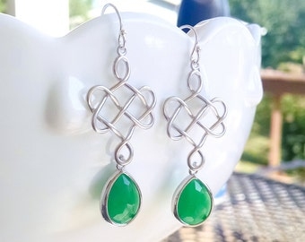 Kelly Green and Silver Earrings - Celtic Knot Dangle Earrings with Green Drops on 925 Sterling Wire - Emerald Green Bridesmaid Celtic Gift