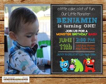 Little Monster Invitation | Little Monster Birthday Party | Chalkboard | Our Little Monster Invite with Photo | Printable