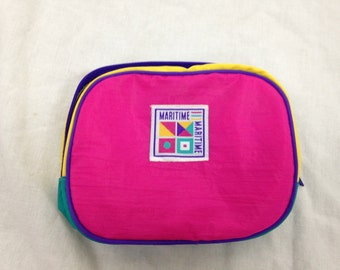neon colorblock pouch