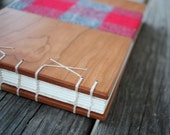 Red flannel inlaid wooden guest book