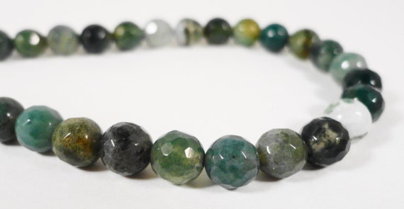 """Moss Agate Gemstone Beads 6mm Round Faceted Natural Green Gemstone Beads, Stone Beads for Jewelry Making on a 7 1/2"""" Strand with 31 Beads"""