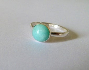 Aqua, mint, Amazonite ring, sterling silver, oxidised silver ring,