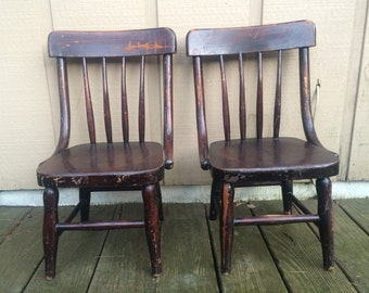 Two Heywood Brothers Bentwood Style Childs Chair Wooden  Spindle Chair Heywood Wentworth Chair
