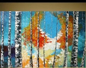 SALE Modern  Landscape  Abstract Acrylic Impasto Palette Knife   Birch  Painting.