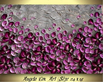 Original Purple  Gray Flowers  Impasto Textured Palette Knife Floral  Painting.