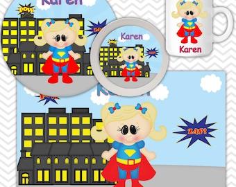 Supergirl Plate Bowl Mug Set - Personalized Supergirl Plate Set - Customized Plate, Bowl, Mug - Melamine Plate, Bowl & Set for Kids