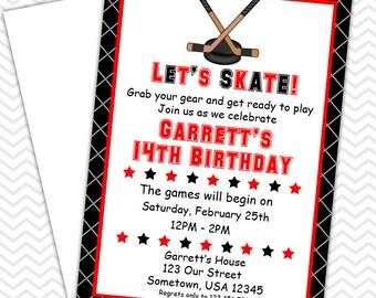 Hockey Sports Invitations PRINTABLE - Birthday Party - Baby Shower