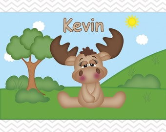 Moose Placemat - Personalized Moose Placemat for Kids - Moose Double Sided Laminated Placemat for Kids