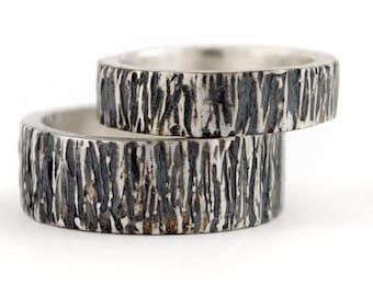 Rustic wedding band, Organic engagement ring, Wide band oxidized ring, Handmade artisan designed wedding band