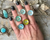 Drop Anchor Lichen Moonstone Barnacle Ring Size 9