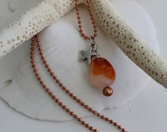 Starfish Agate Pearl Necklace