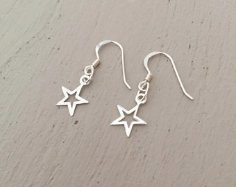 Star Drop Earrings - Sterling Silver, Star Earrings, Drop Earrings, Star Jewellery, Dangle Earrings, Dainty Earrings, Small Earrings