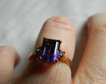 Amethyst Engagement Ring Amethyst Anniversary Ring Genuine Diamond Art Deco Cushion Cut Alternative Engagement February Birthday