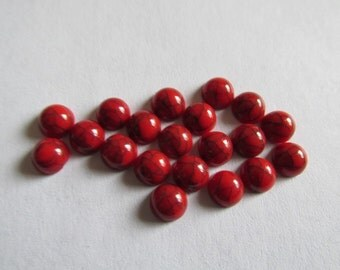 Red round cabochons -(20pcs) - #Ecab-7 - 6mm