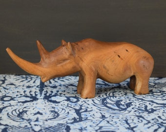 Mid Century wood  carved rhino figurine / sculpture