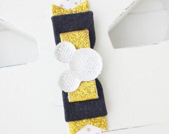 Mickey mouse headband- Baby girl headband- Toddler headband- Disney headband- Hair accessory- Gold Black- headband-Glitter bow- Photo prop-