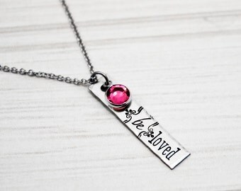 Hand Stamped Jewelry - {be}loved - Stainless Steel Tag Necklace with Birthstone - Gift for Daughter, Sister, Mom, Wife or Grandma - Beloved