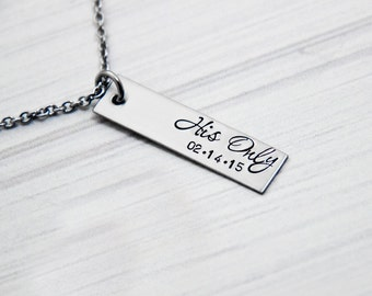 Her One, His Only - The Original with DATE - Couples Jewelry - Hand Stamped Stainless Steel Necklace Set - Sterling Heart Charm