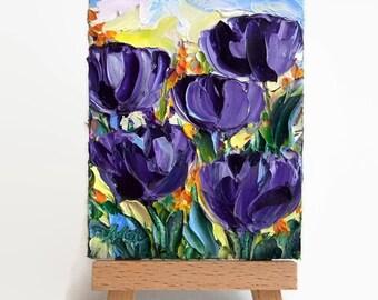 Original ACEO Purple Tulip Flower Floral Art Mini Tiny Painting SFA Palette Knife Textured Doll House
