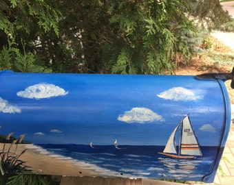 Sailboat Dunes and Beach painted mailbox , hand painted nautical mailbox