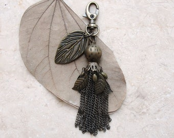 Brass Oriental Leaves Tassel Keychain / Bag Ring