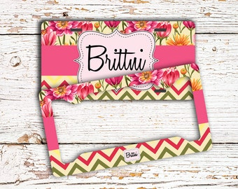 Personalized floral license plate or frame, Pink yellow green, Car accessories, Front car tag or bike plate, Chevron car decor  (1645)
