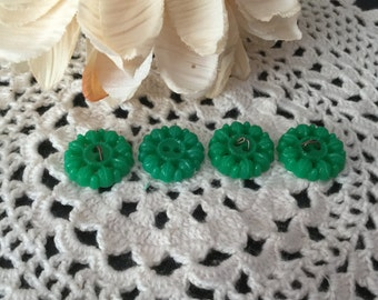 Vintage Tiny Green Floral Leaf  Buttons Set of 4  Kelly Green Plastic NEW