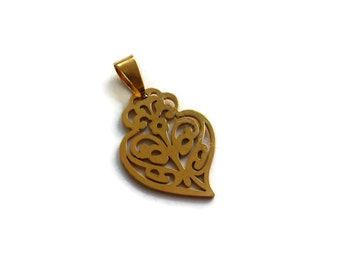1 Jewelry findings pendant Heart Antique Gold (P86)