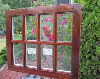 24-1/4 x 21-1/4 Vintage Rare Size Window sash frame old DOOR TOP 8 pane  from 1960s