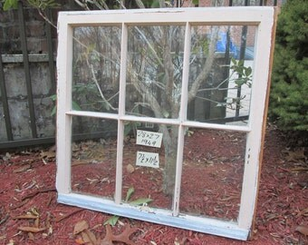 28 x 27 Vintage Window sash  6 pane  from 1949
