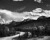 Mountain Photography, Nature Photography, Canadian Rockies Photo, Jasper National Park, Mountain Road, Black and White Fine Art Print