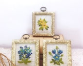 ON SALE Miniature Vintage Framed Floral Embroidery Wall Decor