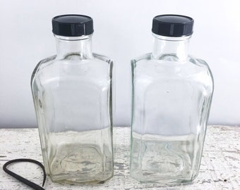 Christmas in July Two Large Vintage Scientific/Chemical/Apothecary Bottles