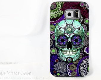 Purple Paisley Sugar Skull Samsung Galaxy S6 Case - TOUGH dual layer S 6 Case with Day of The Dead Art