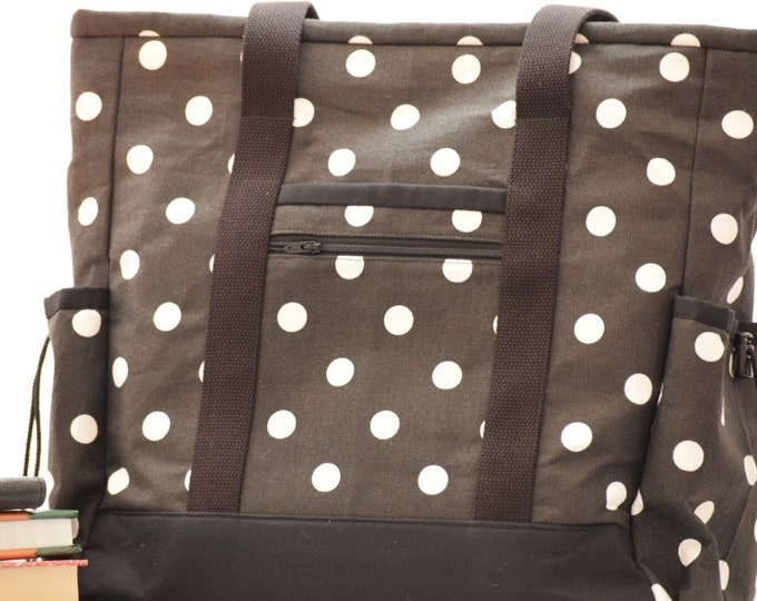 Polka Dot Kitchen Sink Tote, Black and White Professional Tote, Carry On, Teacher Tote, Large Tote Bag with pockets, Diaper Bag, Travel Tote