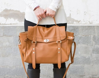 Leather messenger bag - laptop messenger bag - Satchel bag - Leather briefcase - MELINA bag